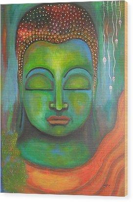 The Green Buddha Wood Print by Prerna Poojara