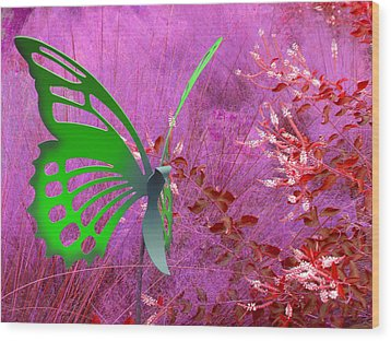 Wood Print featuring the photograph The Green Butterfly by Rosalie Scanlon