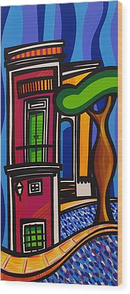 The Green Door Wood Print by Mary Tere Perez