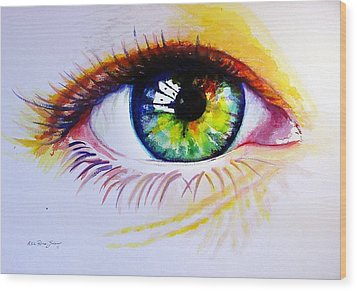 The Green Eye Wood Print by Estela Robles