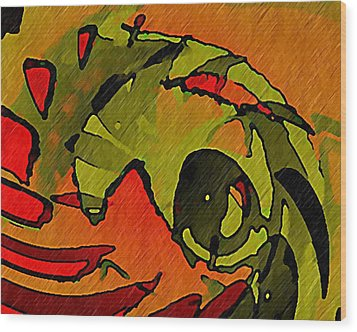 The Green Iguana Wood Print by Terry Mulligan