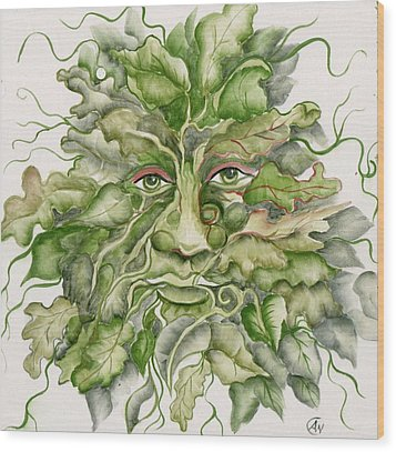 The Green Man Wood Print by Angelina Whittaker Cook