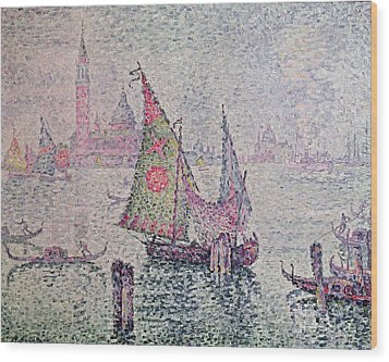 The Green Sail Wood Print by Paul Signac