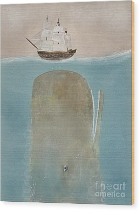 Wood Print featuring the painting The Grey Whale by Bri B