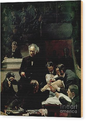 The Gross Clinic Wood Print by Thomas Cowperthwait Eakins