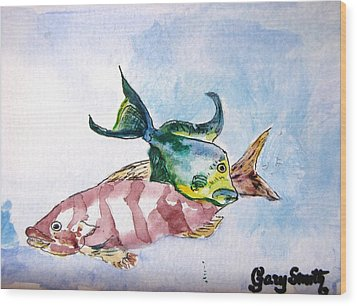 Wood Print featuring the painting The Grouper And Friend by Gary Smith