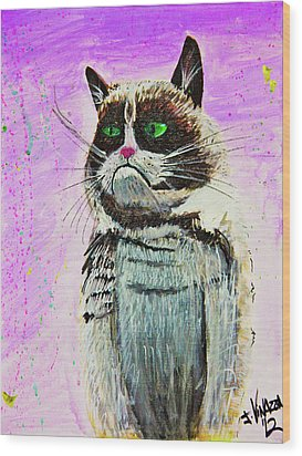 The Grumpy Cat From The Internets Wood Print by eVol i