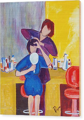 Wood Print featuring the painting The Hair Dresser by Betty Pieper