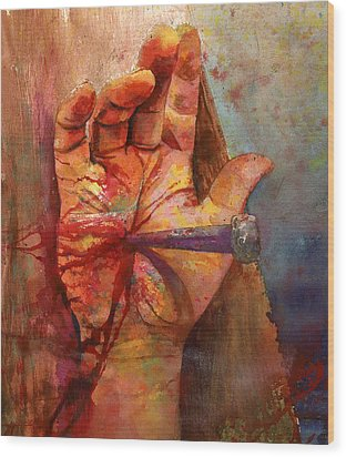 Wood Print featuring the painting The Hand Of God by Andrew King