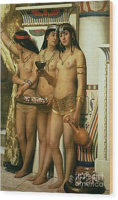 The Handmaidens Of Pharaoh Wood Print by John Collier