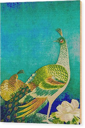 The Handsome Peacock - Kimono Series Wood Print by Susan Maxwell Schmidt
