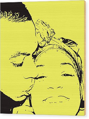 The Happy Couple  Wood Print by D R TeesT