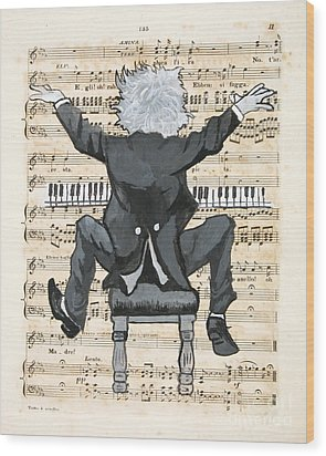 The Happy Pianist Wood Print by Paul Helm