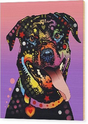 Wood Print featuring the painting The Happy Rottie by Dean Russo