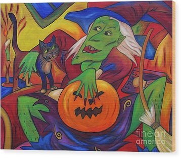 Wood Print featuring the painting The Happy Witch Cat And Pumpkin by Dianne  Connolly