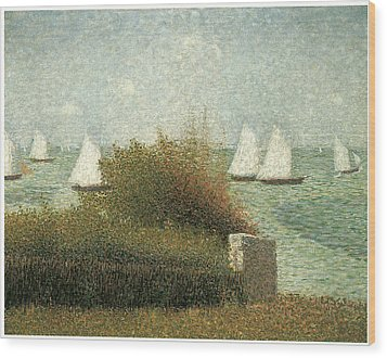 The Harbor At Grandcamp Wood Print by Georges Seurat