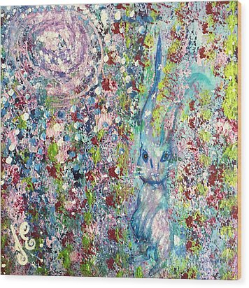 The Hare's Meadow Wood Print by Julie Engelhardt