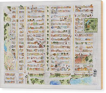 The Harlem Map Wood Print