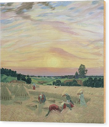 The Harvest Wood Print by Boris Mikhailovich Kustodiev