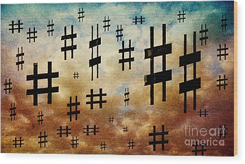 Wood Print featuring the digital art The Hashtag Storm by Andee Design
