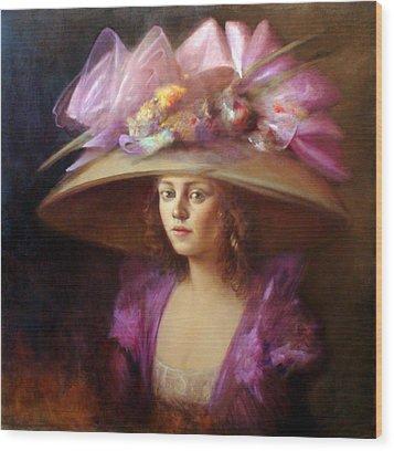 The Hat Wood Print by Loretta Fasan
