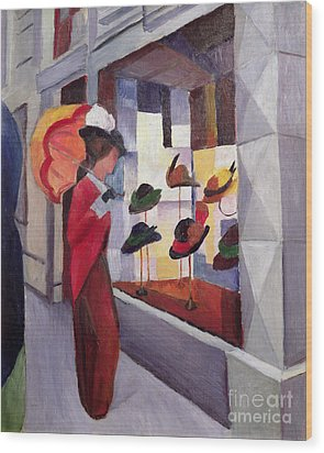 The Hat Shop Wood Print by August Macke