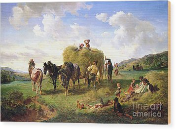 The Hay Harvest Wood Print by Hermann Kauffmann