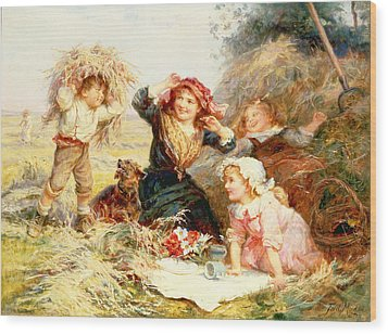 The Haymakers Wood Print by Frederick Morgan