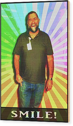 Wood Print featuring the mixed media The Healing Smile Mosaic by Shawn Dall