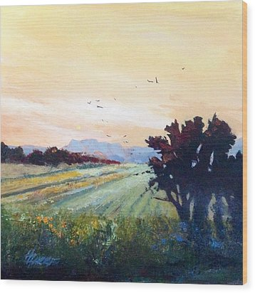 Wood Print featuring the painting The Heartland by Helen Harris