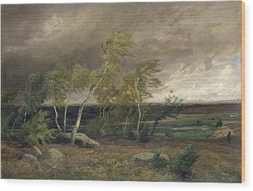 The Heath In A Storm Wood Print by Valentin Ruths