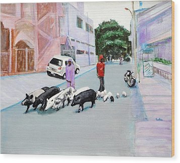 The Herd 5 - Pigs Wood Print by Usha Shantharam