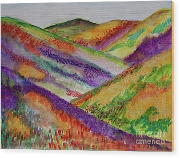 Wood Print featuring the painting The Hills Are Alive by Kim Nelson