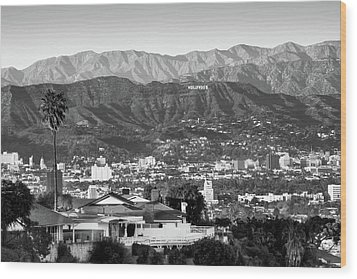Wood Print featuring the photograph The Hollywood Hills Urban Landscape - Los Angeles California Bw by Gregory Ballos
