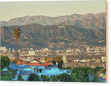 Wood Print featuring the photograph The Hollywood Hills Urban Landscape - Los Angeles California by Gregory Ballos