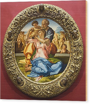 The Holy Family - Doni Tondo - Michelangelo Wood Print