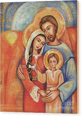 The Holy Family Wood Print by Eva Campbell