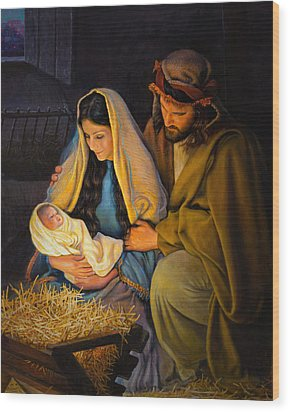 Wood Print featuring the painting The Holy Family by Greg Olsen