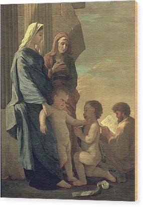 The Holy Family Wood Print by Nicolas Poussin