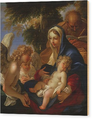 Wood Print featuring the painting The Holy Family With Angels by Seastiano Ricci