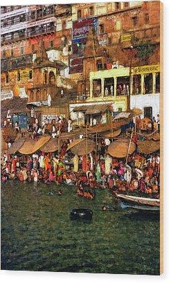 The Holy Ganges Impasto Wood Print by Steve Harrington