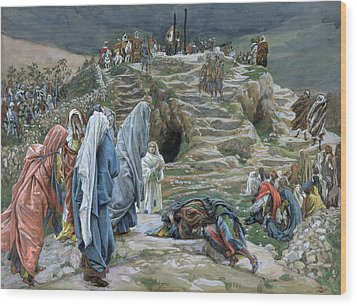 The Holy Women Stand Far Off Beholding What Is Done Wood Print by James Jacques Joseph Tissot