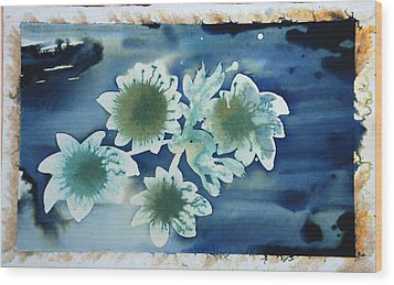 The Hopes And Dreams Of A Blossom On A Lake Wood Print by Amy Bernays