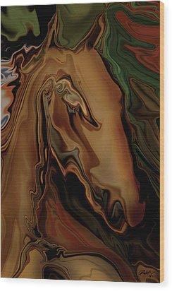 Wood Print featuring the digital art The Horse by Rabi Khan
