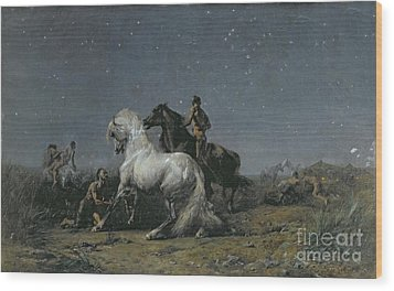 The Horse Thieves Wood Print by Ferdinand Victor Eugene Delacroix