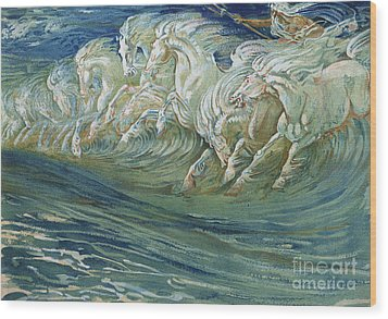 The Horses Of Neptune Wood Print by Walter Crane