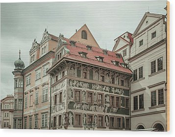 Wood Print featuring the photograph The House At The Minute With Graffiti At Old Town Square  by Jenny Rainbow