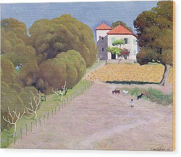 The House With The Red Roof Wood Print by Felix Edouard Vallotton