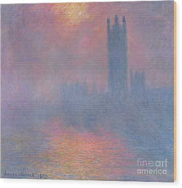 The Houses Of Parliament London Wood Print by Claude Monet