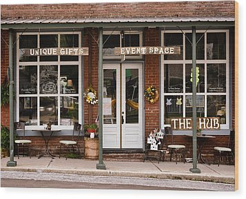 The Hub - Storefront - Vintage Wood Print by Greg Jackson